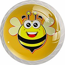 Yellow Smiling Bee 4 Pieces Crystal Glass Wardrobe