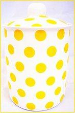 Yellow Spots Canister Fine Bone China Yellow