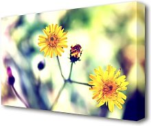 Yellow Spring Daisy Flowers Canvas Print Wall Art