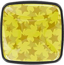 Yellow Stars Square Cabinet Knobs 4pcs Knobs for