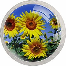 Yellow Sunflower (2) 4 Pieces Crystal Glass