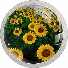 Yellow Sunflower 4 Pieces Crystal Glass Wardrobe