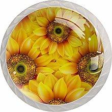 Yellow Sunflower 4pcs Glass Cupboard Wardrobe