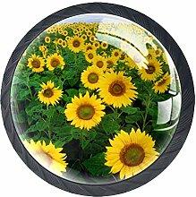 Yellow Sunflower Crystal Door Knobs Glass
