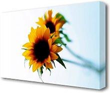 Yellow Sunflower Duo Flowers Canvas Print Wall Art
