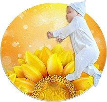 Yellow Sunflower, Printed Round Rug for Kids