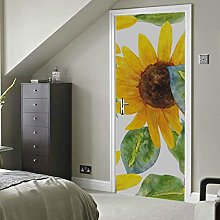 Yellow Sunflower Watercolor Painting Self-Adhesive