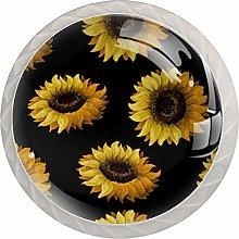 Yellow Sunflower White Crystal Drawer Handles