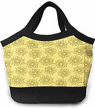 Yellow Sunflowers Women Portable Lunch Bag Tote