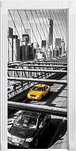 Yellow Taxi in New York On a Bridge Door Sticker