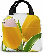 Yellow Tulip Flower Lunch Bag Tote Bag Lunch Box