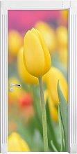 Yellow Tulips in Spring Door Sticker East Urban