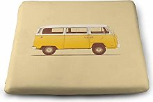 Yellow Van Solid Square Cushion, Pillow Seat Chair