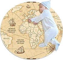 Yellow world map, Round Area Rug Pattern Round