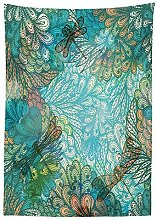 Yeuss Dragonfly Outdoor Tablecloth,Fantasy Flowers