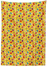 Yeuss Easter Tablecloth, Funky Colorful Icons with