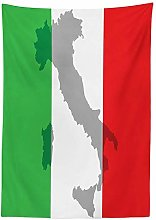 Yeuss Italian Flag Outdoor Tablecloth,Map View of