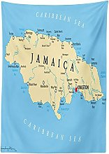 Yeuss Jamaican Tablecloth by, Map of Jamaica