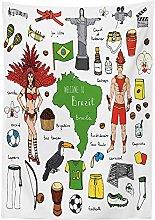 Yeuss Modern Tablecloth by, Brazilian Symbols Rio