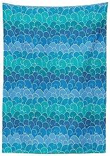 Yeuss Nautical Decor Tablecloth, Waves Cartoon sea