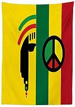 Yeuss Rasta Tablecloth, Iconic Barret Reggae and