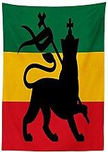 Yeuss Rasta Tablecloth, Rastafarian Flag with