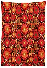 Yeuss Red and Brown Tablecloth, Vivid Colored