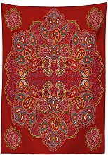 Yeuss Red Mandala Outdoor Tablecloth,Moroccan