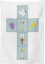 Yeuss Religious Tablecloth by, Greeting Welcoming