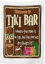 Yeuss Tiki Bar Decor Tablecloth, Aged Old Frame