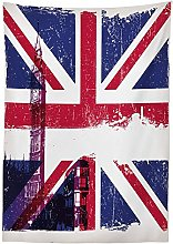 Yeuss Union Jack Outdoor Tablecloth,Grungy Aged UK