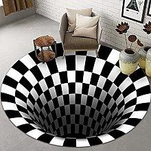 YHDP Round Rug,3D Vortex Optical Illusion Area