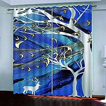 YHIZKD Curtains For Bedroom Abstract Trees Elk