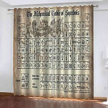YHIZKD Curtains For Bedroom Ancient Text Printing