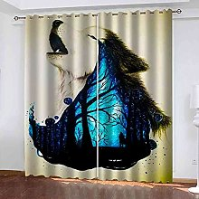 YHIZKD Curtains For Bedroom Animal Wolf Creative
