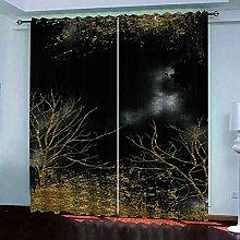 YHIZKD Curtains For Bedroom Art Tree Print Eyelet