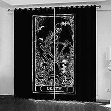YHIZKD Curtains For Bedroom Black Skeleton Eyelet