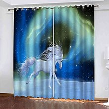 YHIZKD Curtains For Bedroom Blue Starry Sky Animal