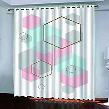 YHIZKD Curtains For Bedroom Geometric Pink Eyelet