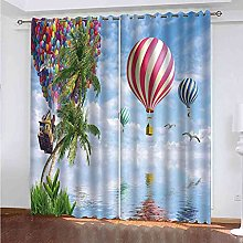 YHIZKD Curtains For Bedroom Hot Air Balloon Blue