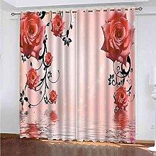 YHIZKD Curtains For Bedroom Red Rose Vine Eyelet