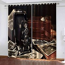 YHIZKD Curtains For Bedroom Retro Camera Eyelet