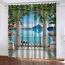 YHIZKD Curtains For Bedroom Roman Column Balcony