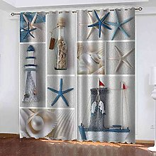 YHIZKD Curtains For Bedroom Starfish Lighthouse