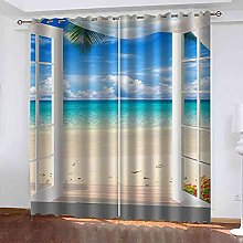 YHIZKD Curtains For Bedroom Window Beach Sea View