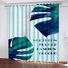 YHIZKD Curtains For Living Room - Blue Leaf Print