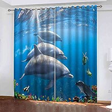 YHIZKD Curtains For Living Room - Blue Sea Animal