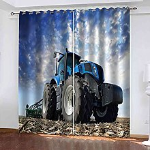 YHIZKD Curtains For Living Room - Blue Tractor