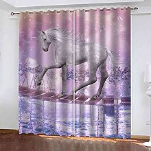 YHIZKD Curtains For Living Room - Purple White