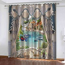 YHIZKD Curtains For Living Room - Water City
